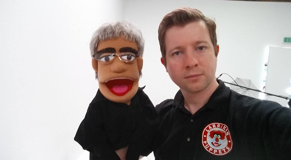 Brett with Gary Foley puppet in Richard Bell film project