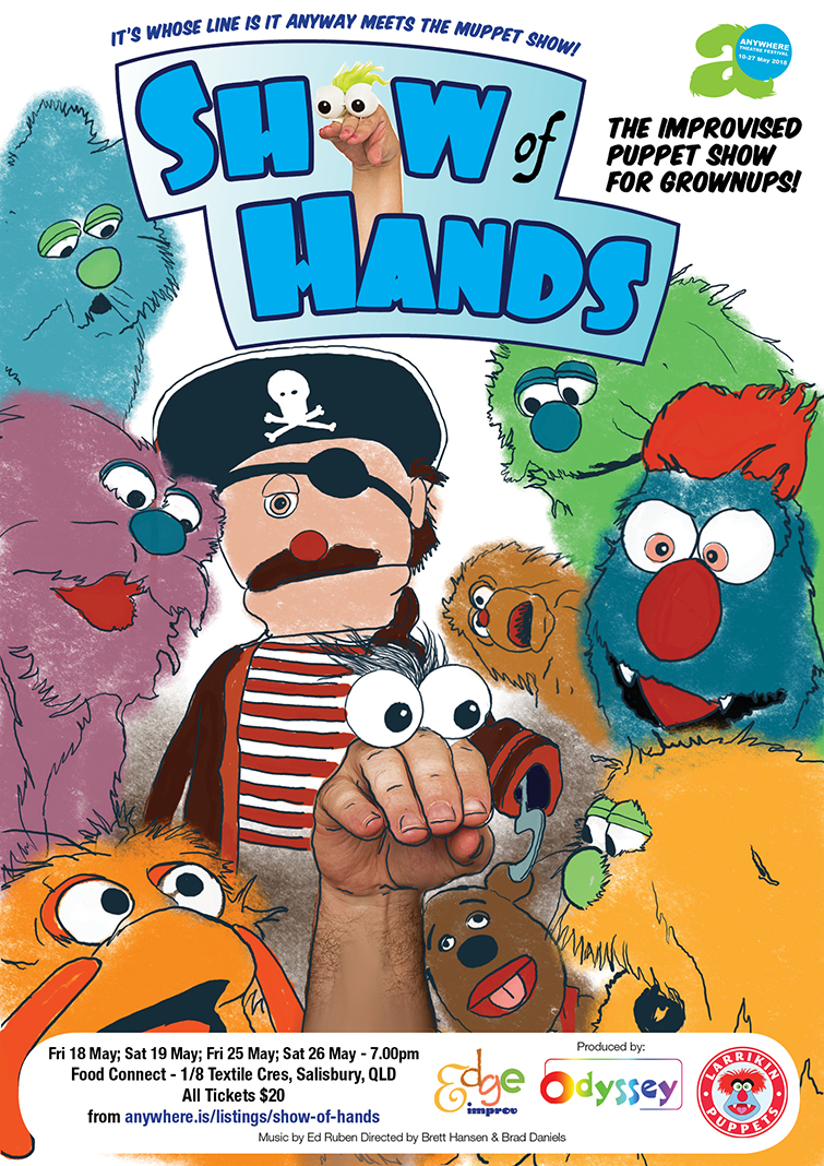 Theatre Entertainment, Theatre Entertainers, Corporate Entertainment | Puppet Show, Improv Puppet Theatre - Show of Hands poster