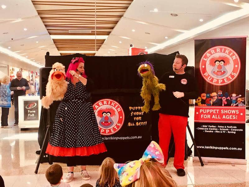 Puppet Show - Shopping Centres - Larrikin Puppets - Live Entertainment - Toowoomba Plaza - Holidays