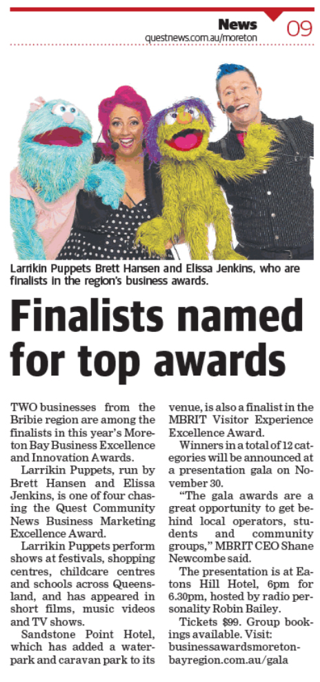 Larrikin Puppets Moreton Bay Region Business Awards
